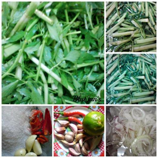 Chuẩn bị phần rau cần và gia vị trộn gỏi